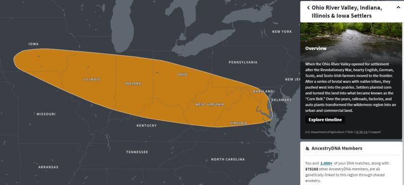 Ohio River Valley, Indiana, Illinois and Iowa Settlers